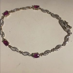 Sterling silver real ruby stone vintage bracelet